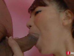 Shy Japanese Teen sucking small dicks