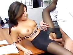 Hardcore office sex with a busty secretary in crotchless hosiery