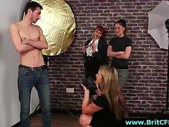 Group of British CFNM babes strip dude on camera