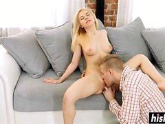 Blonde sweetie satisfies a delicious pecker