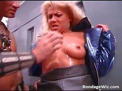 Blonde slut getting punished by hot wax