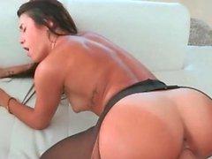 Hottie in pantyhose taking big fat pecker