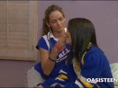 Cheerleader Dillion Harper licking her collegue