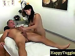 Asian masseur makes her client cum hard