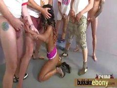 Ebony babe in group sex hardcore action 29