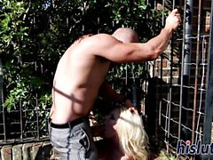 Delicious blonde chick gets banged hard outdoors