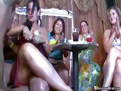 Club party with these crazy babes sucking and fucking hard cock