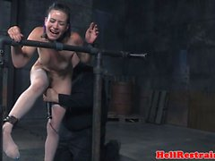 Restrained submissive flogging punishment