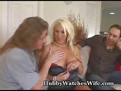 Hottie blonde housewife with glasses gets her husband to watch as she gets boinked by another man