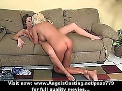 Blonde milf and cute lesbian lover toying and licking pussy in 69