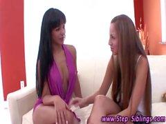 Slutty step sisters suck nipples