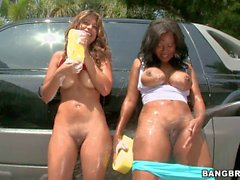 Sexy assed car wash ladies Diana and Jessica Dawn