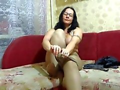 Pantyhose de nylon do fetish do milf maduro