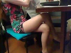 Hot Rothaarige Spielzeug ihre Muschi auf Webcam