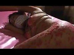 Bondage fetishist in lingerie enjoys an intense drilling fr