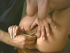 Dude shoves fingers and toys in hot cheerleader