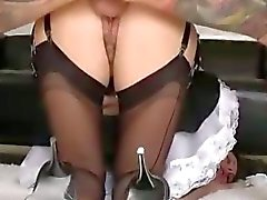 Stockinged mature british maid