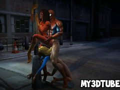 Two bi 3D superhero babes get fucked by Spiderman