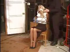 A blonde wife loves kinky stuff so her husband tie her up and tease her