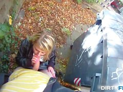 Blonde cutie tricked into outdoor sex