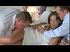 Busty mom gangbang fucked in bed