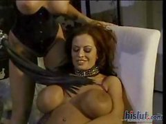 Busty brunette and blonde lesbians licking and toying pussy