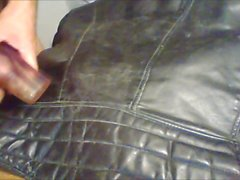 cum on vintage leather biker jacket