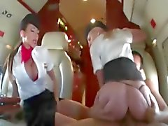 Air hostesses ride cock in first class