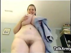 Fat White Chick Masturbates