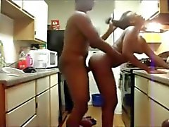 Black Couple Fucking in the Kitchen