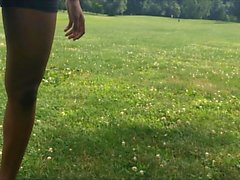 Amazing Fit Bubble Butt Ebony Teen in Spandex Shorts Candid