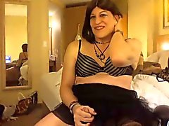 Tranny JO in hotel room, laughter ensues