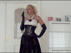 Smoking blonde in corset heels