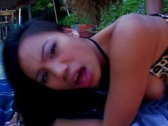 Asian swallowing outdoor cock