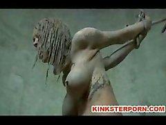 Açık BDSM Çamur Slave Rezillik