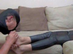 Jennifer Goddess cleaning feet by slave