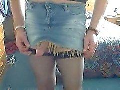 Crossdressing in jeans skirt