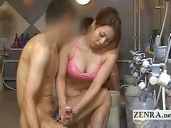 Japan sauna lady gives client cumshot inducing handjob