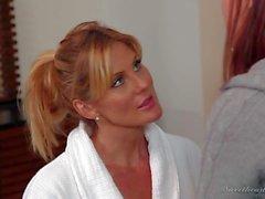 Redhead in jeans Karlie Montana gets seduced by Kate Kastle