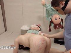 Extreme dildo bum sex with rope BDSM teacher