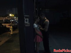 Real stranded teen hardfucked in public