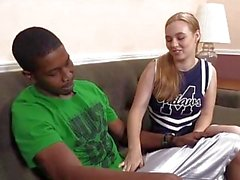 Cute cheerleader fucks a black basketball player