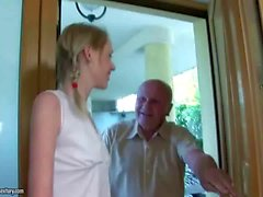 Grandpa and innocent teen kissing and making love