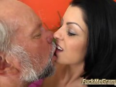 Petite Brunette Liz Enjoys Senior Tongue