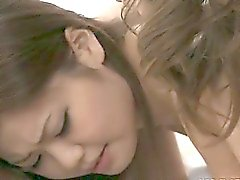 Horny Japanese idol Nao and a friend take turns sucking a big cock.