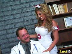 Sexy nurse Charisma Capelli makes her doctor cum