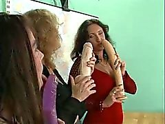 Two chicks two dildos and two huge dicked guys