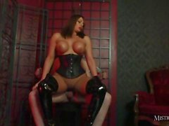 Hot busty Mistress Carly fucks slave and makes him cum in gimps slutty mouth