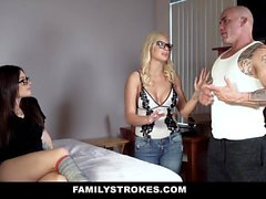 FamilyStrokes - Sexy Stepmom And Daughter Fuck Huge Cock
