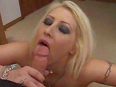 Pretty blonde sucks, fucks and swallows